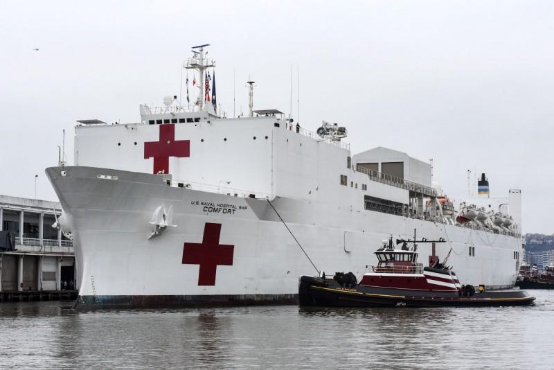 美軍醫療船安慰號(USNS Comfort T-AH-20)專門收治紐約非武漢肺炎的患者,好讓當地醫護能夠專心治療確診病例,孰料卻有多名感染新型冠狀病毒的病患被送上船。(法新社)