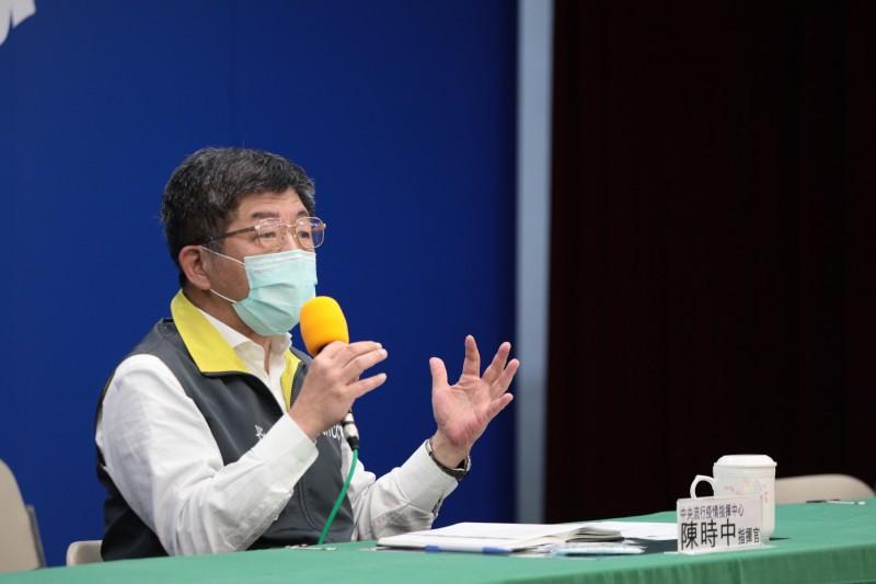 中央流行疫情指揮中心指揮官陳時中表示,口罩是非常重要的物資,他自己認為14天9片相當足夠。(指揮中心提供)