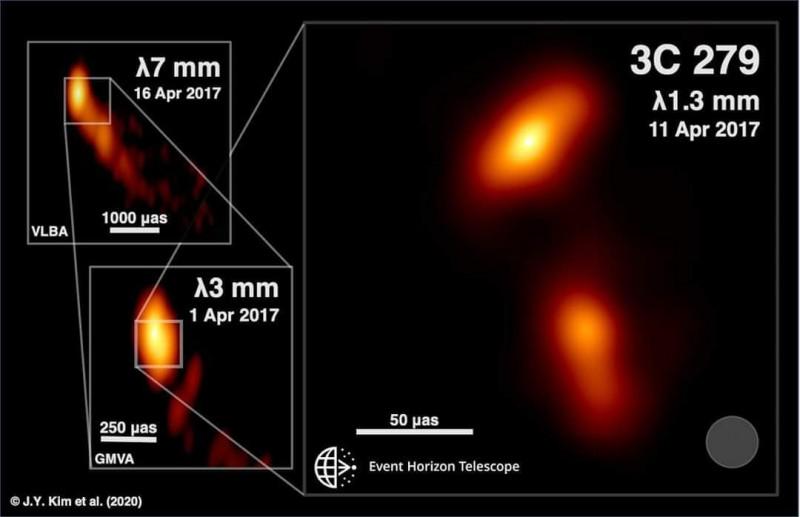 中研院參與的事件視界望遠鏡(EHT)跨國團隊,繼去年發表第一張黑洞照片後,本月再度公布第一張黑洞噴流源頭的照片。(中研院天文所提供)