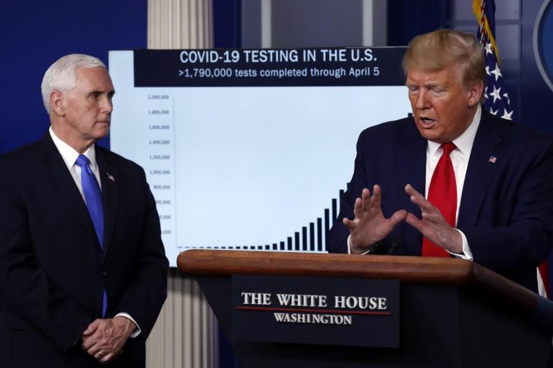 美總統川普(右)與副總統彭斯(左)。(美聯社)