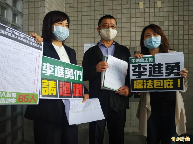 韓國瑜反擊罷韓,委任律師和市議員到雄檢按鈴控告罷韓團體。(記者黃佳琳攝)