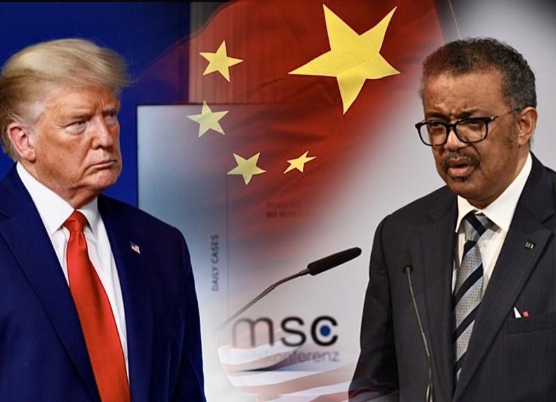 美國總統川普(左)揚言中斷金援世界衛生組織,中國對此表示不妥。右為世衛組織秘書長譚德塞。(本報合成)