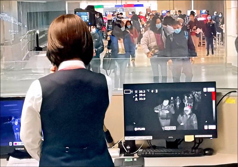 國內昨再新增三例武漢肺炎確診,其中兩例境外移入,目前累積確診三七九人;圖為機場檢測入境旅客體溫。(資料照)