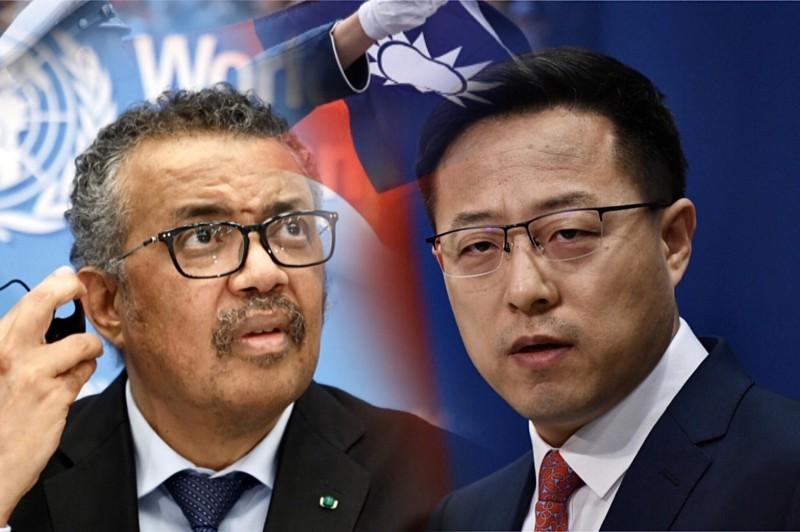 中國外交部發言人趙立堅(右)肯定譚德塞(左)帶領世衛,還抨擊都是民進黨政治操作。(本報合成)