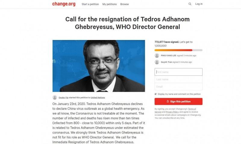 加拿大網友發起的要求譚德塞下台連署活動,目前已有77萬人參與連署。(擷取自Change.org)