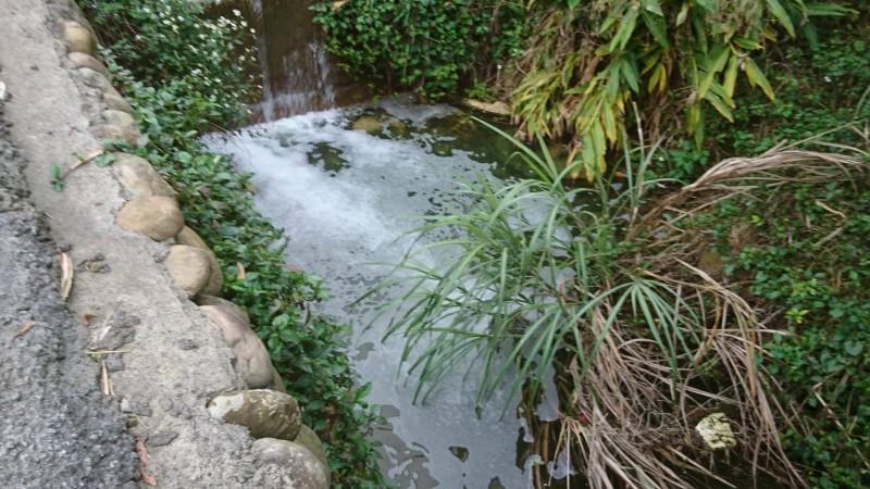 新竹縣關西鎮大同里境內的水坑溪,最近10年來總是三不五時出現不明的白色泡沫,今天傍晚再度發生,居民氣憤不已,希望縣府環保局這次可以逮到元兇。(讀者提供)