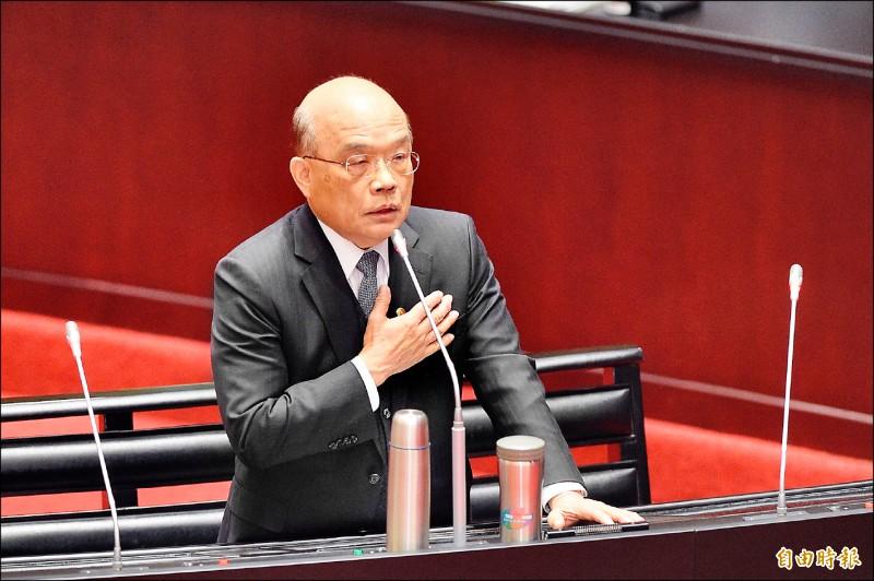 行政院長蘇貞昌在立法院會施政總質詢時,與立委陳玉珍就國家定位爭論。(記者叢昌瑾攝)