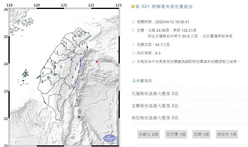 台灣東部海域發生芮氏規模五‧三的地震,就連南投民眾也有感,最大震度為二級。(取自中央氣象局網站)