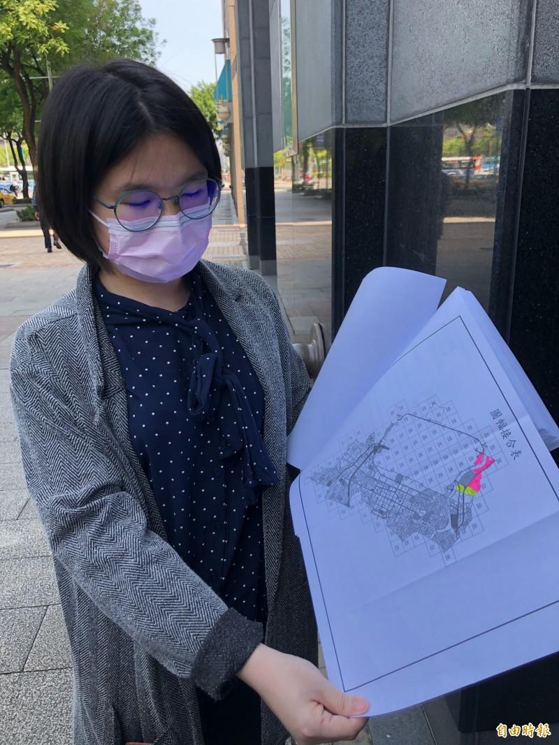 黃怡禎律師指出,航空城計畫中有3個開發行為應環評未環評。(記者羅綺攝)
