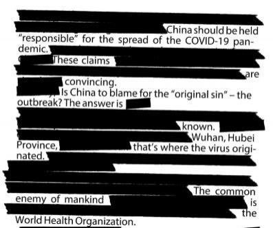 部分15日澳洲《每日電訊報》文章內容,仿效中國的「媒體審查制度」,將大使館的投書經由內容刪改,變成「自白書」。(圖翻攝自Twitter)
