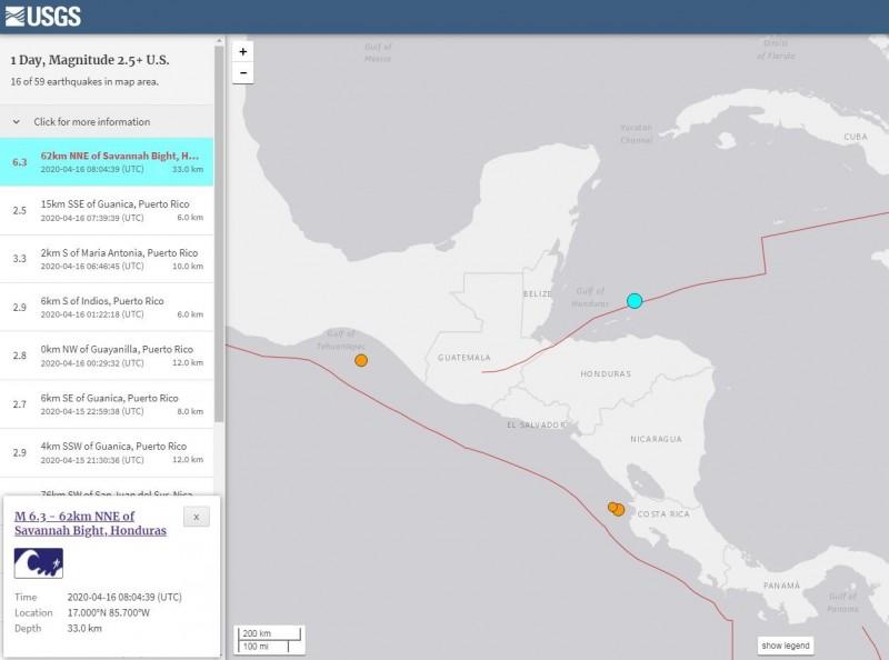 宏都拉斯北方近海發生芮氏規模6.3淺層強震。(擷取自USGS)