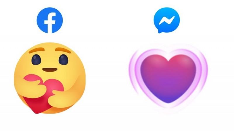 Facebook預計將新增貼文表情符號「care」,Messenger也將愛心升級為紫色的跳動愛心。(翻攝@alexvoica推特)