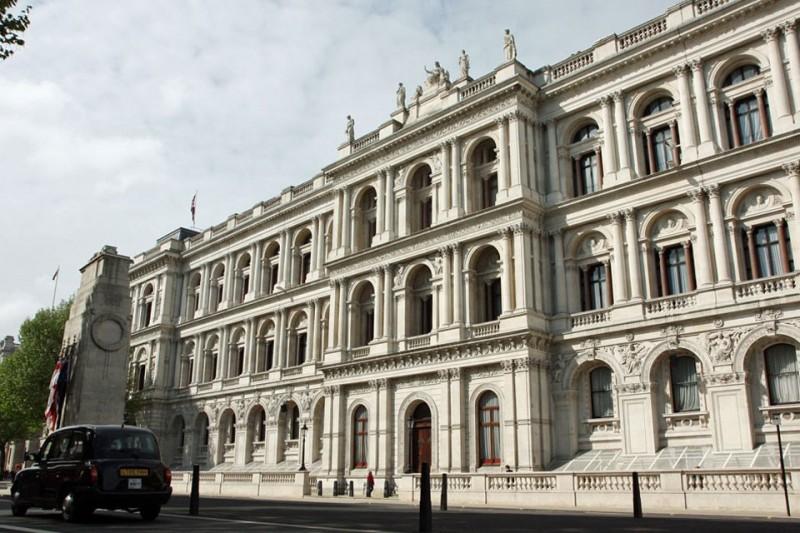 英國外交部發布聲明,對香港民主派人士被捕表示關注。圖為英國外交部大樓。(擷取自英國政府網頁)