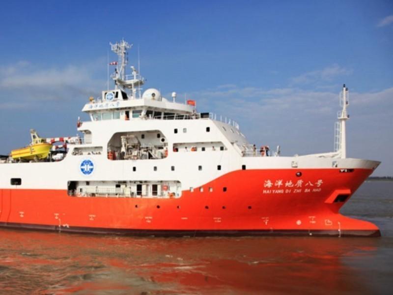 中國石油勘探船「海洋地質8號」在南海騷擾他國探油船,美國務院對此呼籲中國停止「霸凌行為」。(圖擷自中國地質調查局官網)