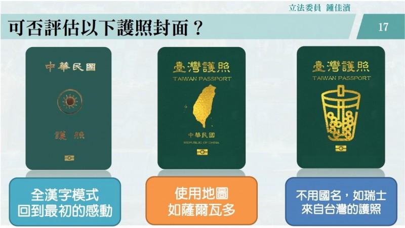 台灣護照封面議題近期引發討論,民進黨立委鍾佳濱今天提出3種新護照封面,推薦外交部評估使用。(鍾佳濱辦公室提供)