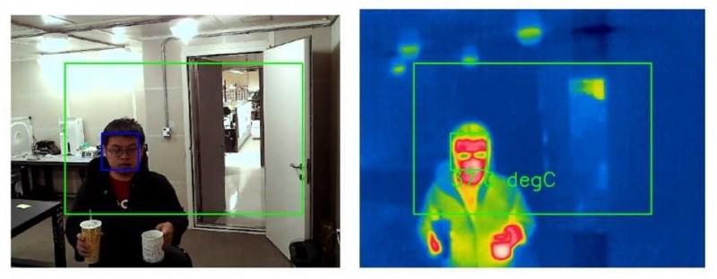 國家衛生研究院開發新一代紅外線熱像儀系統,具人臉辨識功能,可直接偵測人體體溫,而不受手持的冷、熱飲所干擾。(記者鄭名翔翻攝)