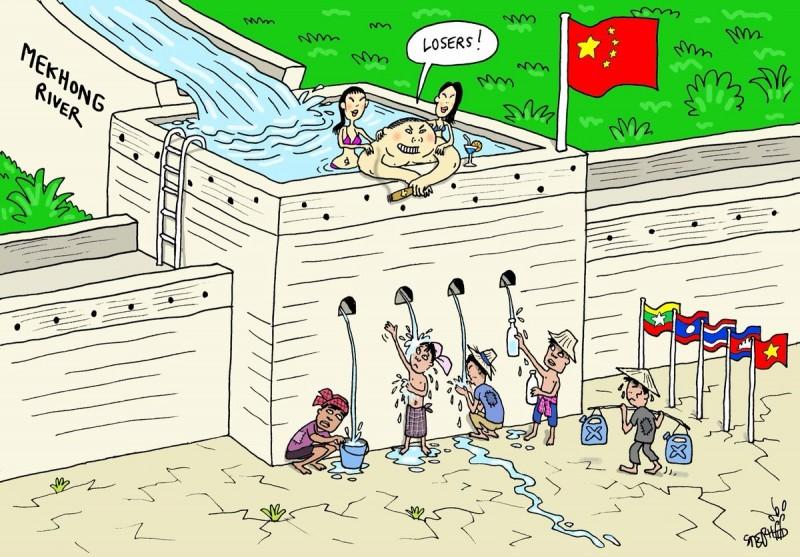 中國在其境內瀾滄江(湄公河)上游所興建水壩攔阻了主要水源,也導致了中南半島5國境內的水資源匱乏。對此,泰國網友向「奶茶聯盟」請求支援,一同前往美國白宮請願網站連署「阻止中國在湄公河上游興建水壩」。圖為,泰國知名插畫家「Stephff」所繪製政治諷刺漫畫,精闢點出湄公河水權議題。(圖擷取自推特_@stephffart)