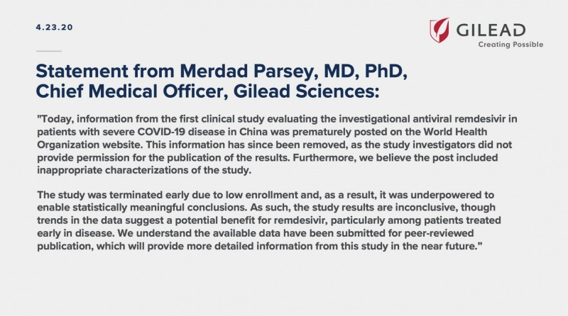 吉立亞發表聲明駁斥,指研究結果尚無定論,因為該研究已提前終止。(圖截取自Gilead Sciences)