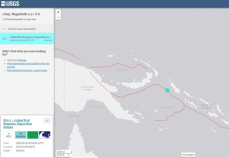 巴布亞紐幾內亞發生芮氏規模6.3強震。(擷取自USGS)