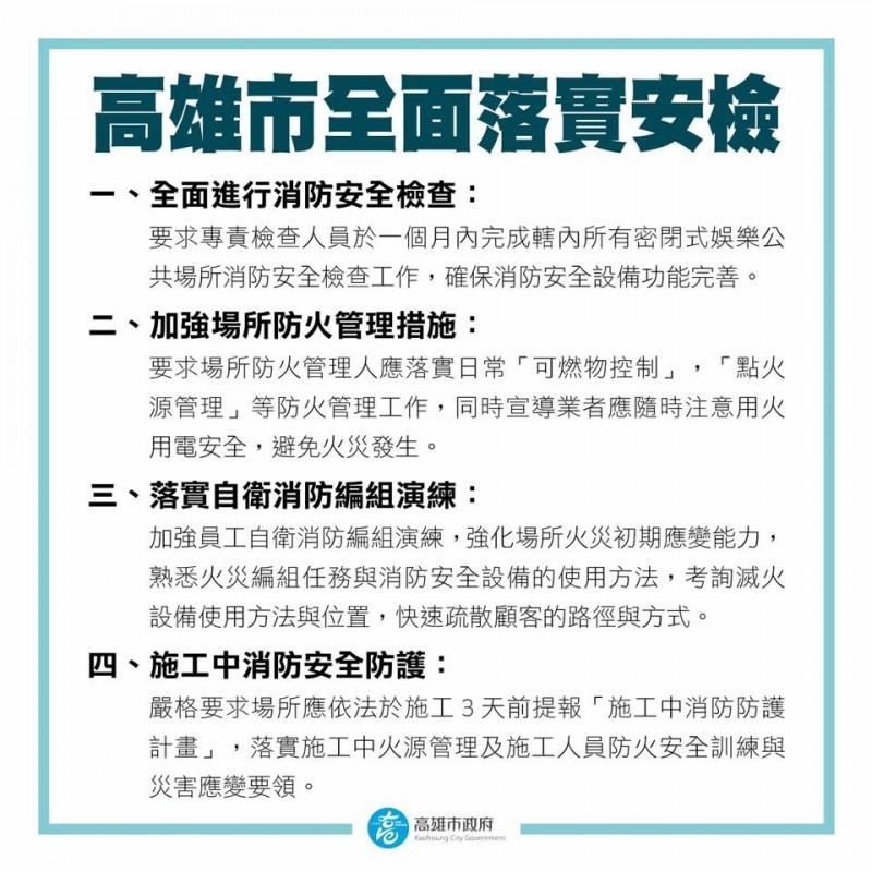 韓國瑜今晚針對林森北路錢櫃發生的KTV發生的火警祭四大措施。(圖擷取自韓國瑜臉書)