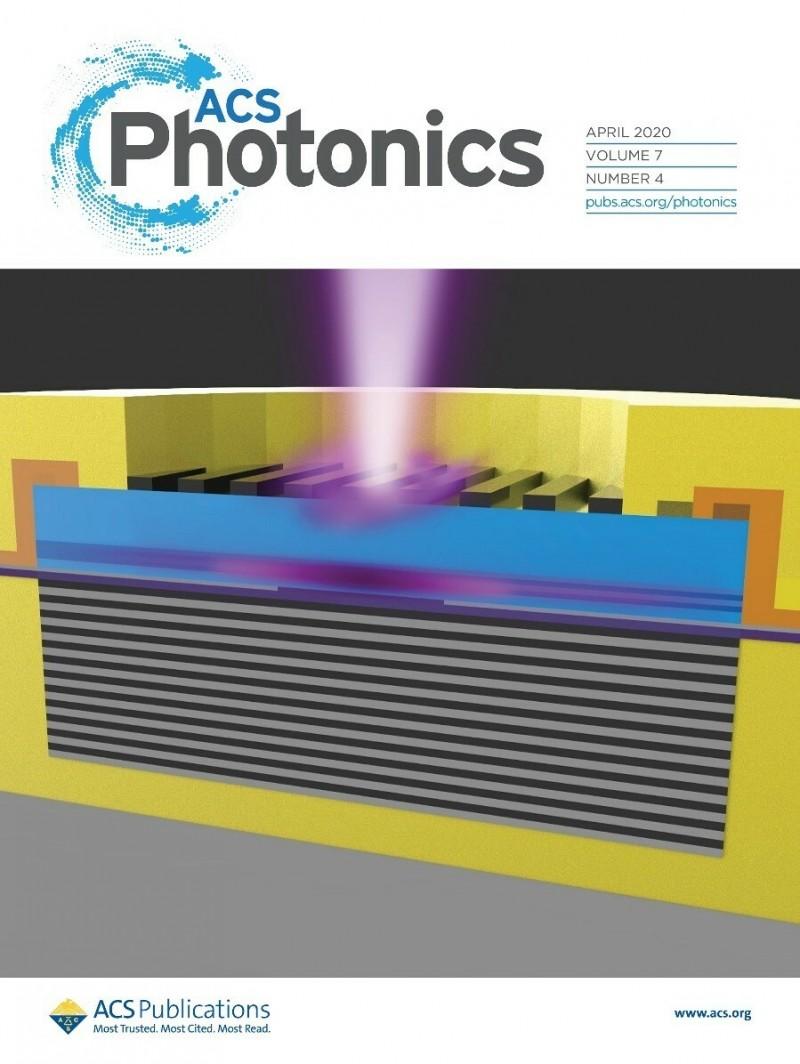 交通大學與瑞典國際大學合作研究的第一個藍紫光面射型雷射,成功刊登在國際期刊4月的封面。(圖由交大提供)