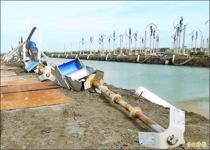 不敵海風長期侵蝕下,不少發電機已開始嚴重生鏽。(記者陳冠備攝)
