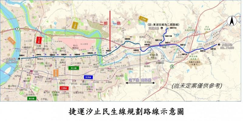 汐止民生線路線示意圖。(新北市政府捷運局提供)
