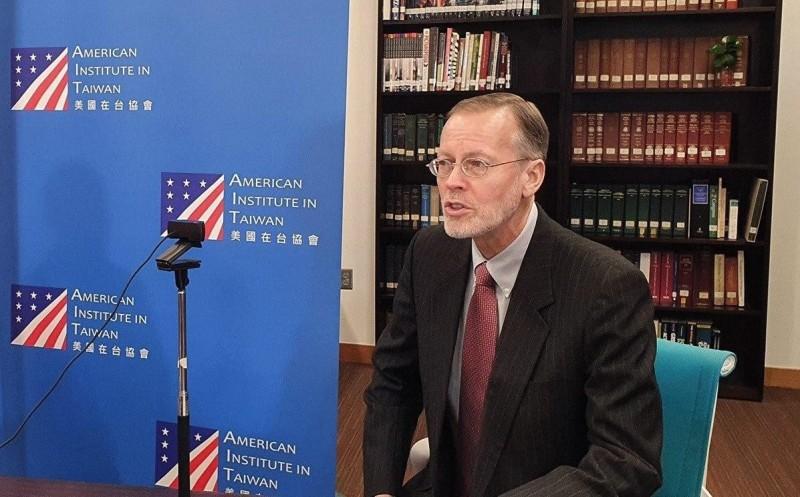 美國在臺協會(AIT)處長酈英傑出席台美日虛擬GCTF會議。(外交部提供)