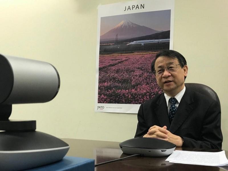 日本駐台代表泉裕泰出席台美日虛擬GCTF會議。(外交部提供)