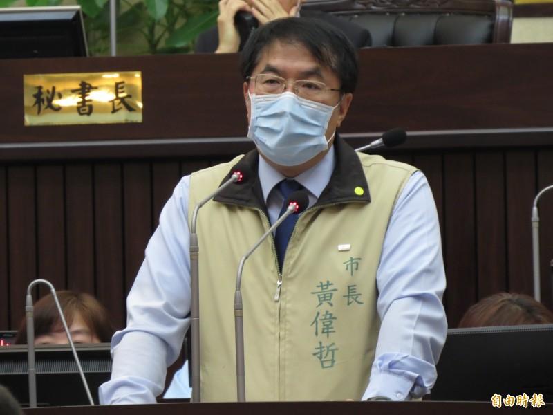 台南市議會第定期會開議,市長黃偉哲出席進行施政報告。(記者蔡文居攝)