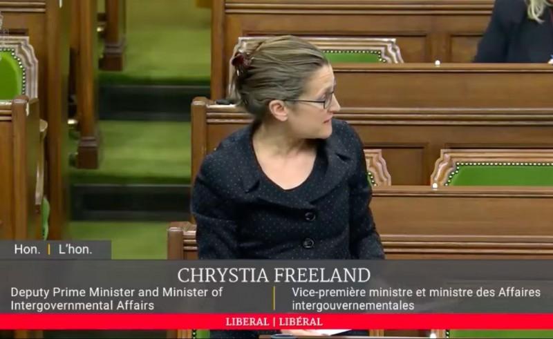 加拿大副總理方慧蘭(Chrystia Freeland)4月29日在國會備詢時,代表加拿大政府重申,加拿大支持台灣成為世衛大會(WHA)觀察員。(圖擷取自加拿大保守黨聯邦眾議員 Kenny Chiu 影片)