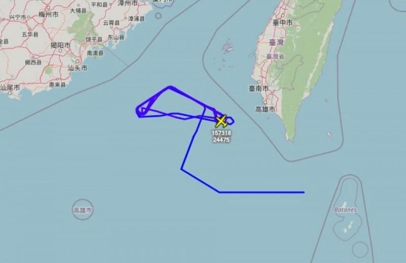 美軍EP-3E電偵機今日接近南海、台海一帶,軍事專家王臻明認為,這個位置百分之百在台灣的防空識別區裡。(圖擷取自飛機守望推特)
