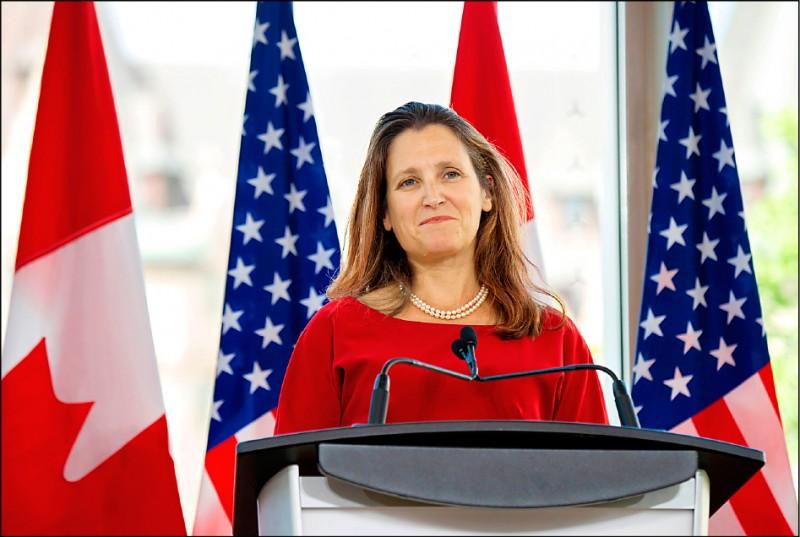 加拿大副總理方慧蘭(Chrystia Freeland)代表加拿大政府重申,加拿大支持台灣成為世衛大會(WHA)觀察員。(法新社資料照)