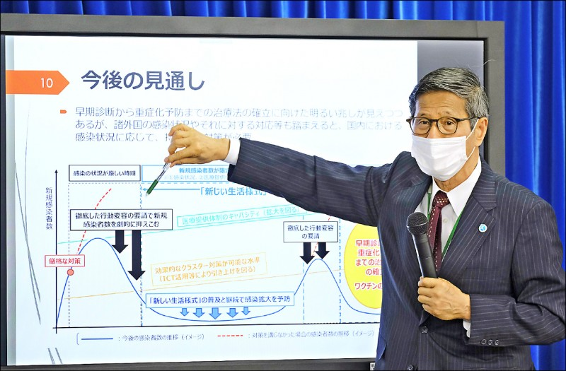 日本一日召開旨在檢討日本政府至今有關武漢肺炎對策作為的專家會議,由日本國立感染症研究所所長主持。圖為現任世界衛生組織(WHO)西太平洋地區事務局名譽局長尾身茂,以圖表說明疫情今後的可能走勢。(法新社)