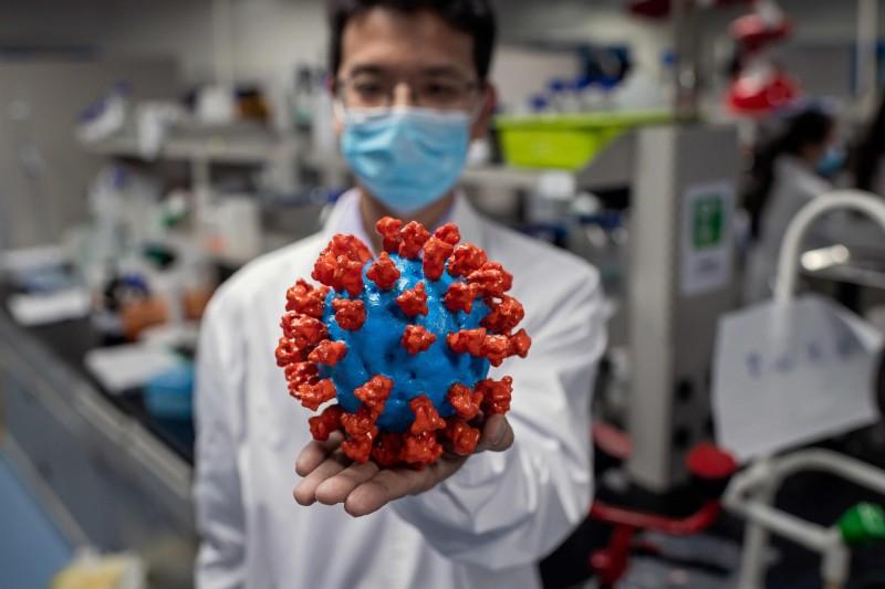 澳洲媒體披露「五眼聯盟」研究檔案,指控中國故意隱瞞疫情、銷毀證據。圖為北京一家實驗室製作的新型冠狀病毒模型。(法新社)