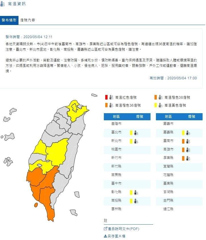 氣象局今天提醒雙北、南高屏及彰化、南投、嘉義等地有機會發生36度以上高溫。(圖由氣象局提供)