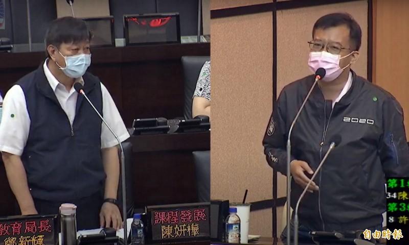 市議員呂維胤(右)對U12提出質詢,南市教育局長鄭新輝(左)表示,希望有棒球隊的學校要重視,如果校長不重視將納入考績。(記者蔡文居翻攝)