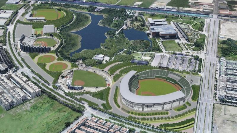 亞太棒球村第2期工程預計2023年完成,2座內野練習場預計明年度完工。圖為亞太棒球村示意圖。(記者劉婉君翻攝)
