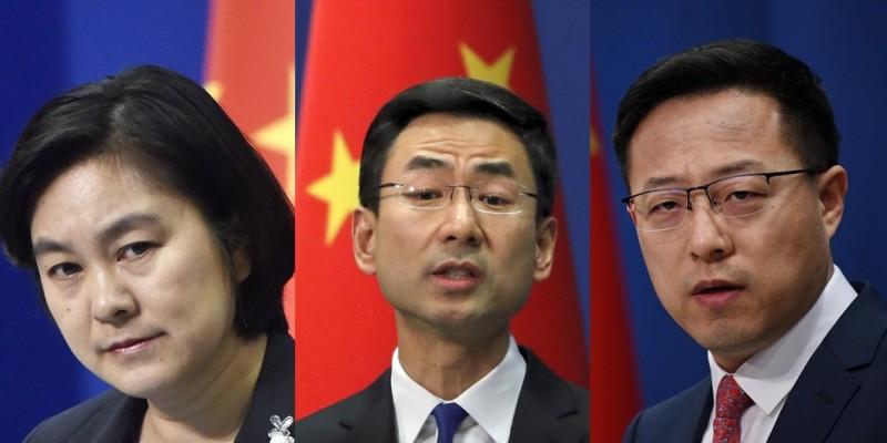 中國外交部發言人華春瑩(左)、耿爽(中)、趙立堅(右)過去數度反對美方與台灣有任何官方形式往來。(來源:美聯社、法新社;本報合成)