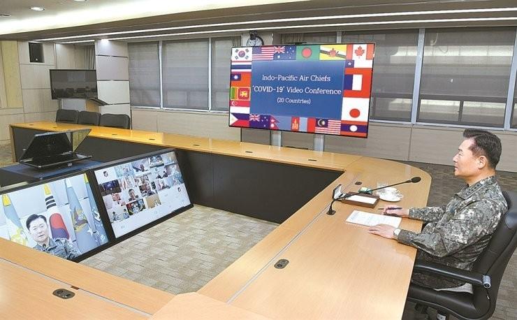 台灣國旗出現在美方主辦的20國空軍首長視訊會議。(圖取自王定宇臉書/南韓空軍)