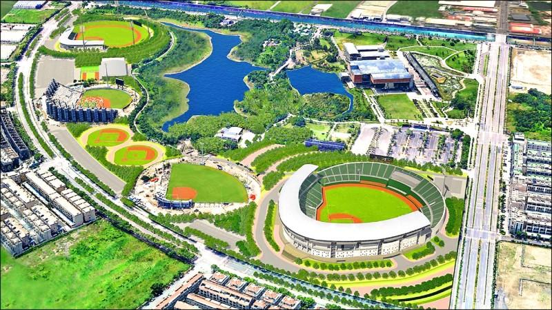 亞太棒球村成棒球場將打造成為智慧場館,2座內野練習場將率先於明年7月前完成。圖為亞太棒球村示意圖。(記者劉婉君翻攝)