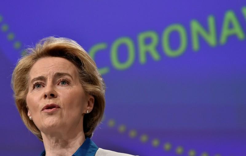 歐盟執委會主席馮德雷恩4月15日召開記者會說明歐盟因應武漢肺炎疫情行動。(路透)