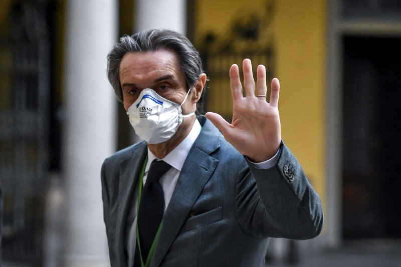 義大利倫巴底大區區長方達納證實,該地區委員會已提案向中國求償200億歐元。(美聯社)