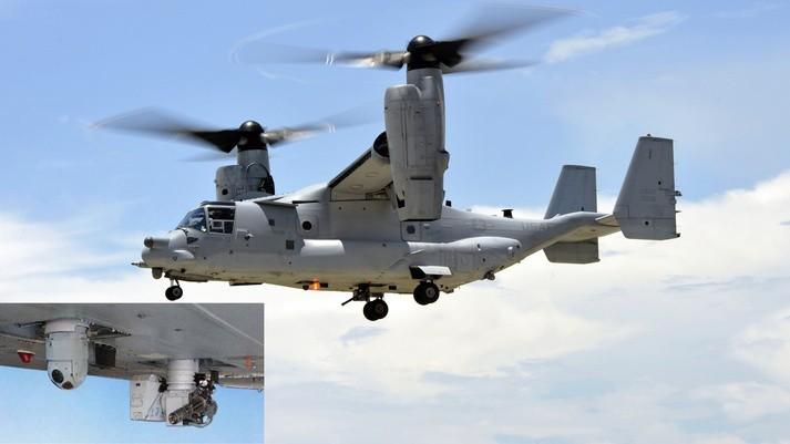 美國MV-22B「魚鷹」傾斜旋翼機日前於夏威夷歐胡島(Oahu)附近海岸進行「自衛武器系統」實測,該系統安裝於「魚鷹」機腹,能為友軍登陸提供火力壓制。(圖擷取自「BAE Systems」官網)