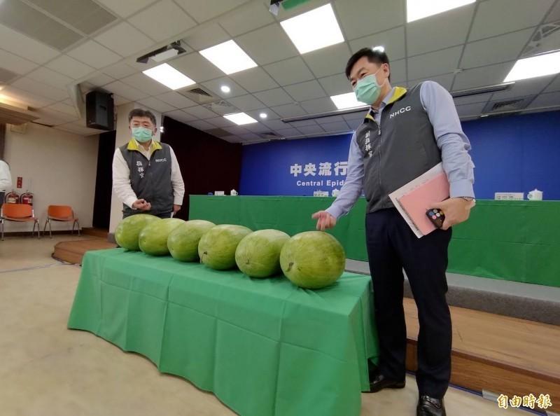 指揮中心指揮官陳時中在1日的記者會上擺上6顆大西瓜,象徵6日零確診,讓「西瓜」在網路上的搜尋趨勢創下兩年來新高。(資料照)