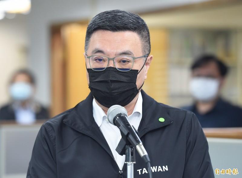 民進黨主卓榮泰6日出席主持中常會,會前受訪。(記者廖振輝攝)