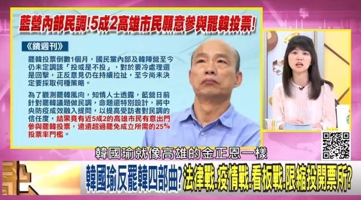 高嘉瑜5日在政論節目,將韓國瑜比喻成韓國瑜,引發北韓不滿。(圖取自壹電視)