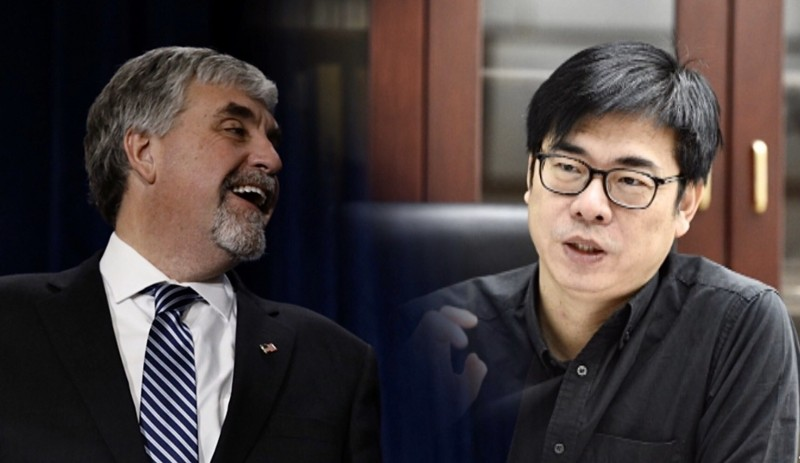 AIT預告,陳其邁(右)今晚將與美國衛生部副部長哈根(左)進行視訊會議。(法新社檔案照,資料照;本報合成)