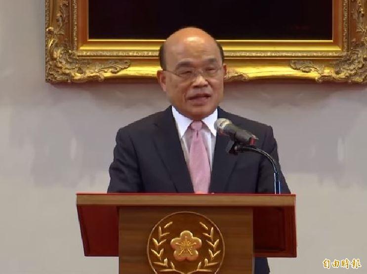 獲蔡總統宣布續任行政院長,蘇貞昌說,他一本初衷,全力以赴。(圖擷取自直播畫面)
