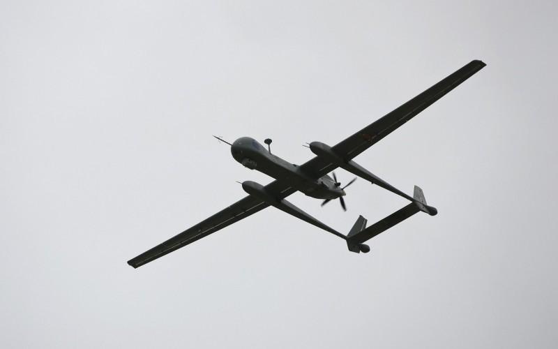 希臘國防部將向以色列租用蒼鷺(Heron)無人機防禦邊境。蒼鷺無人機示意圖。(法新社)